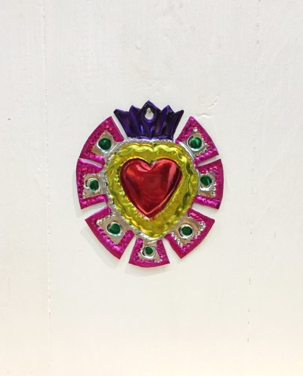 Coeurs sacré mexicain couronne de merlons fuschia
