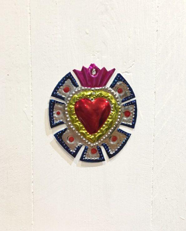 Coeurs sacré mexicain couronne de merlons bleue