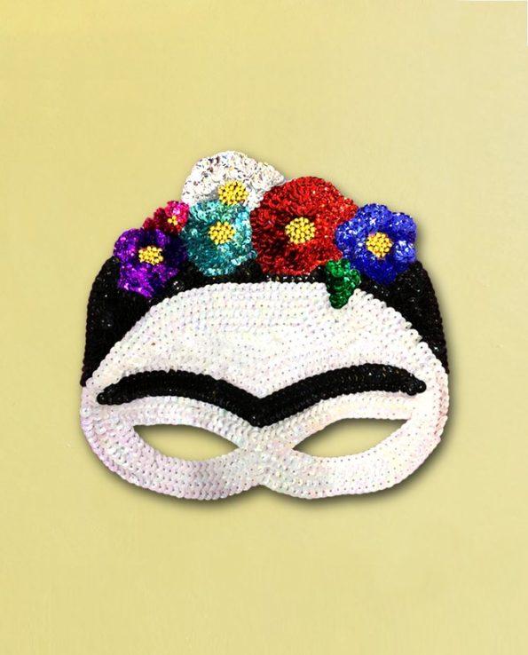 loup pailleté masque Frida Kahlo fait main Mexique