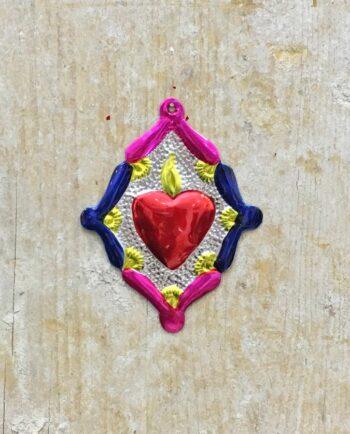 Coeur sacré mexicain - Losange fleuri