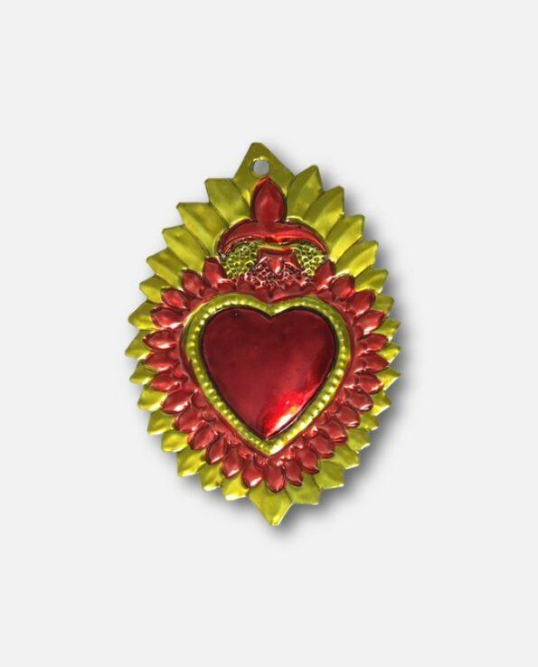 Coeur sacré mexicain - Fleur de lys orange et or