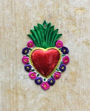 Coeur sacré mexicain - Bord fleuri flamme verte