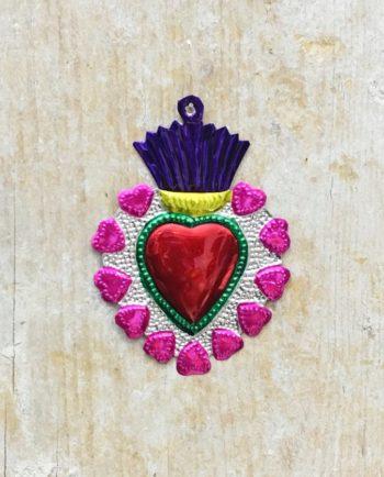 Coeur sacré mexicain - Bord couronne de coeurs