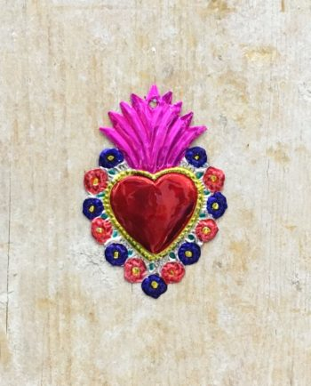 Coeur sacré mexicain - Bord fleuri flamme mauve