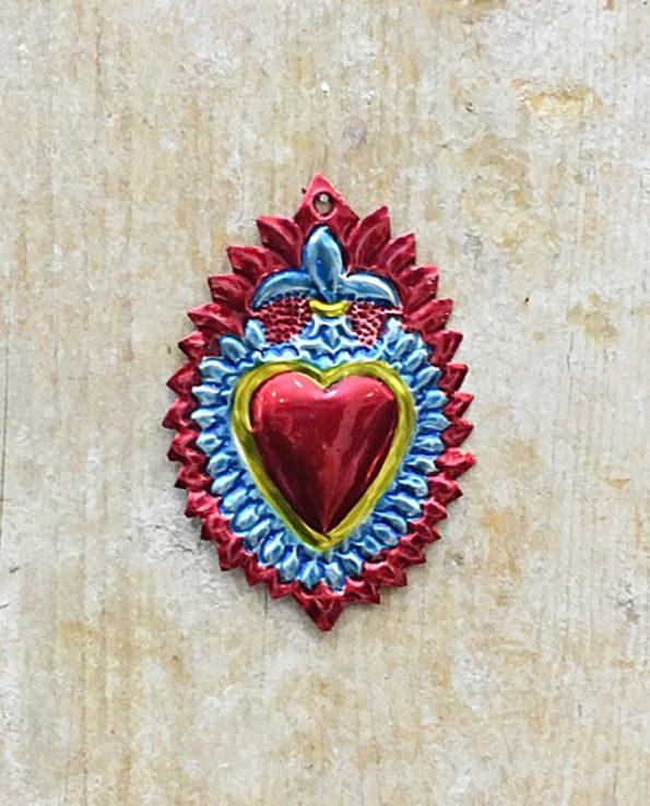 Coeur sacré mexicain - Fleur de lys bleu et rouge