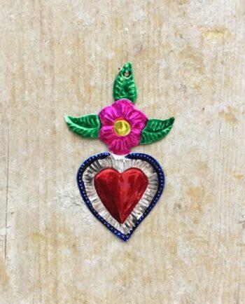 Coeur ex-voto mexicain fleur et feuilles