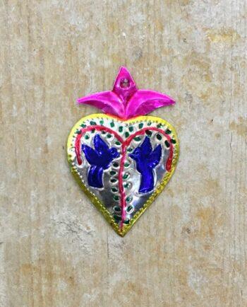 Coeur sacré mexicain - Colombes bleues croix mauve