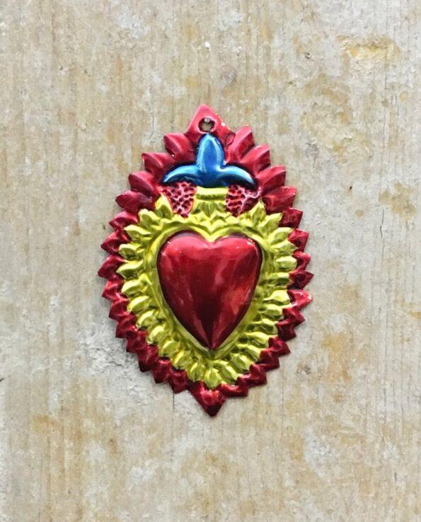 Coeur sacré mexicain - Fleur de lys rouge et or
