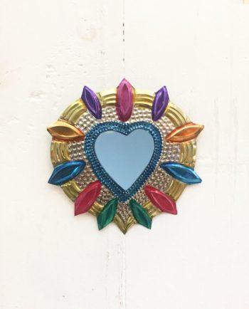 Miroir coeur sacré 12cm Couronne de feuilles