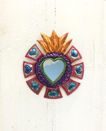 Miroir coeur sacré 12cm Couronne de merlons