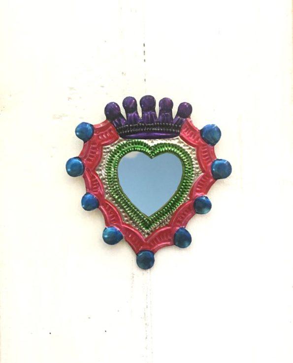 Miroir coeur sacré 12cm double couronne