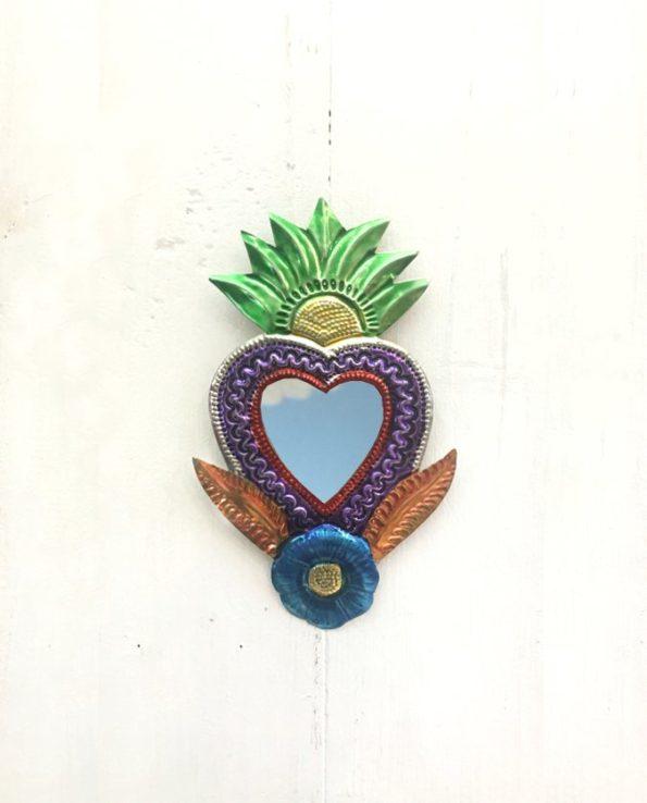 Miroir coeur sacré 12cm fleur exotique