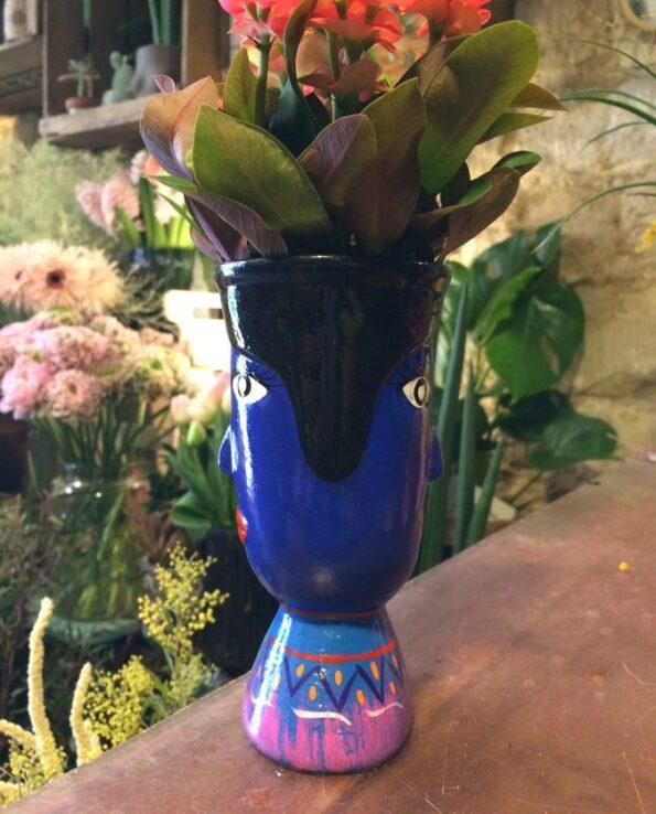 Vase céramique du Guatemala tête de géant bleu - profil