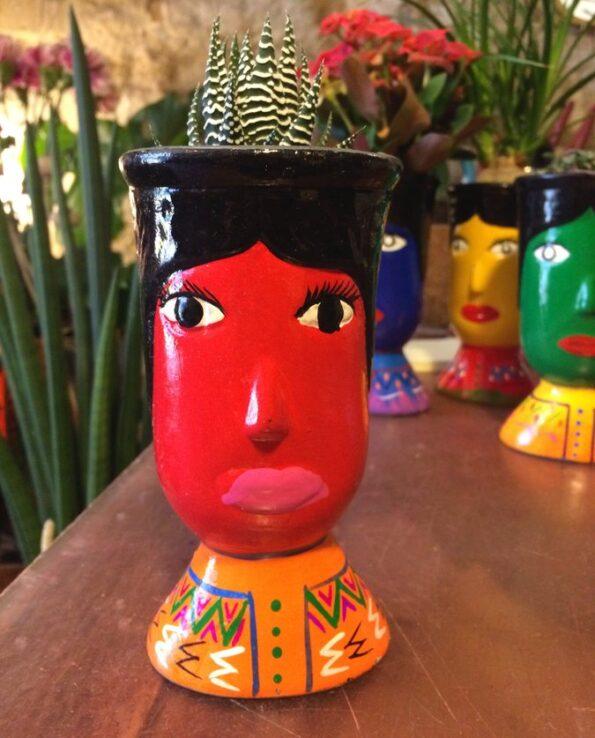 Vase céramique du Guatemala tête de géant rouge - face