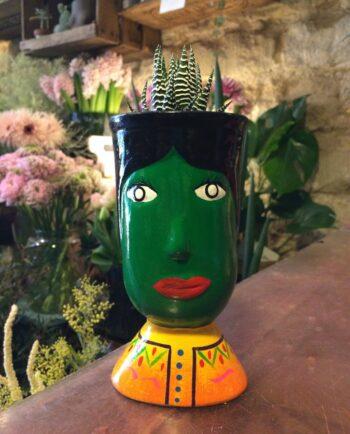 Vase céramique du Guatemala tête de géant vert - face