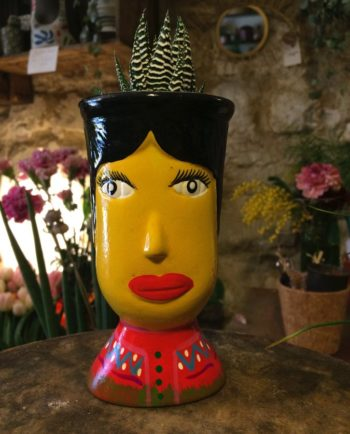 Vase céramique du Guatemala tête de géant jaune - face