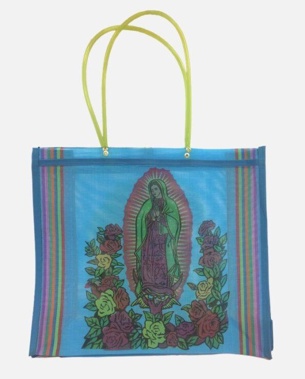 Cabas anses longues Vierge de Guadalupe, bleu