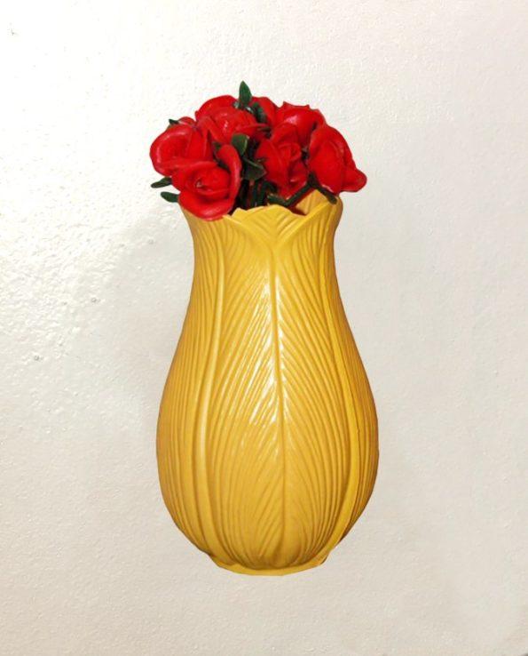 Vase tulipe vintage 18cm - jaune