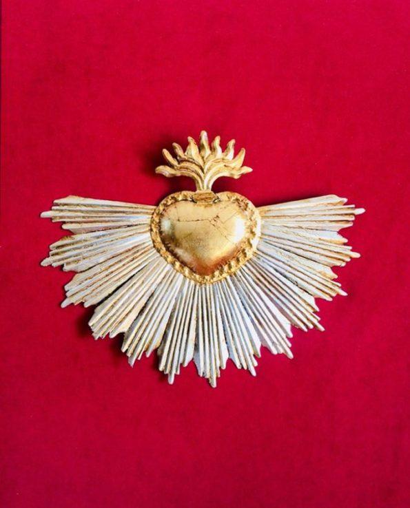 maxi coeur ex-voto mexicain à la feuille d'or