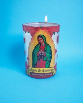 Bougie Vierge de Guadalupe couronne de roses