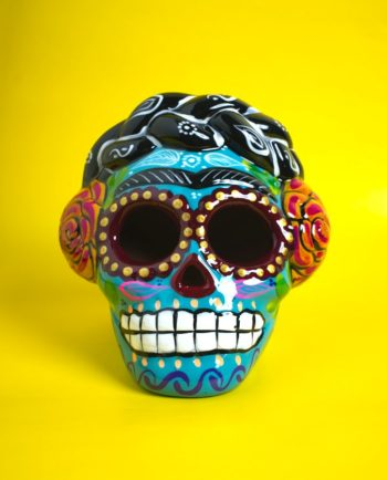 crâne mexicain Frida Kahlo céramique peinte - turquoise