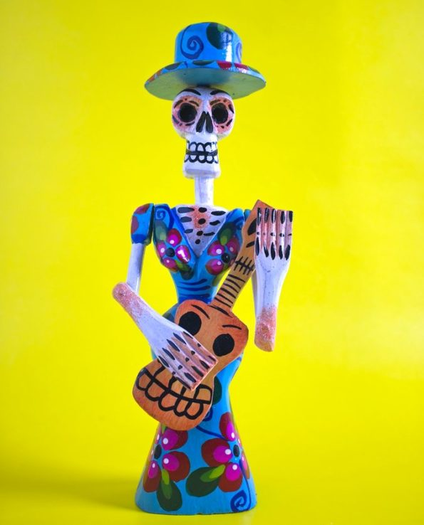 Calaca bois décorée 25cm - Femme