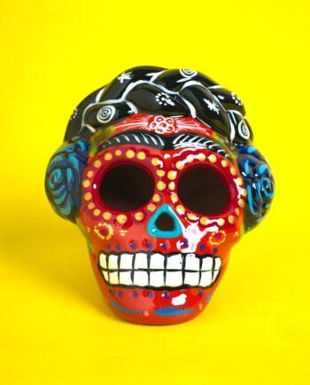 crâne mexicain Frida Kahlo céramique peinte - orange