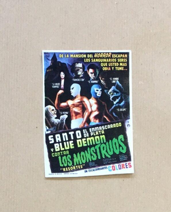 Sticker affiche vintage film El Santo y Blue Demon contra los monstruos