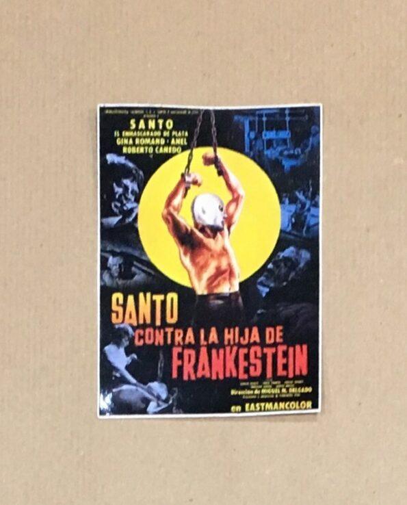 Sticker affiche vintage film El Santo contra la hija de Frankestein