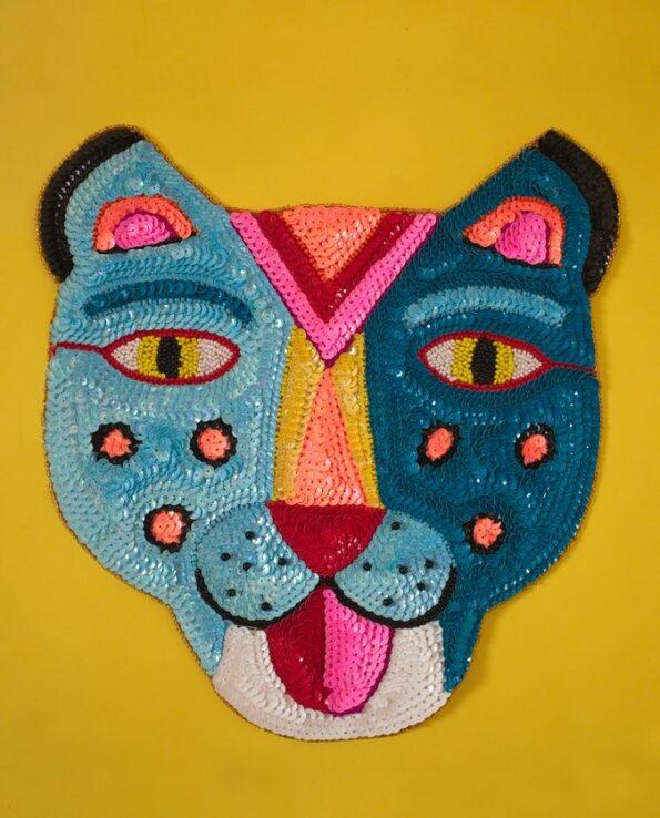 Grand écusson tête de tigre mexicain brodé main - couleur turquoise