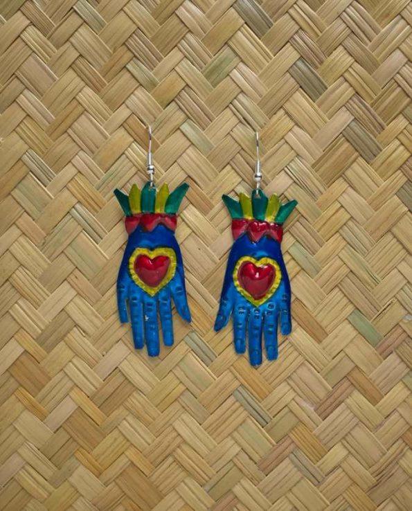 Boucles d'oreilles main coeur couleurs assorties - Bleu