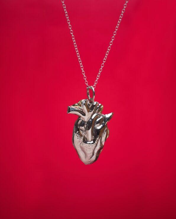 Pendentif coeur anatomique - Argenté