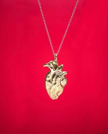 Pendentif coeur anatomique - Doré