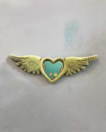 Coeur miroir ailé 100% écoresponsable - Turquoise