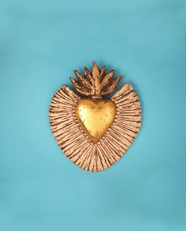 Coeur flammes rayonnant doré 100% écoresponsable