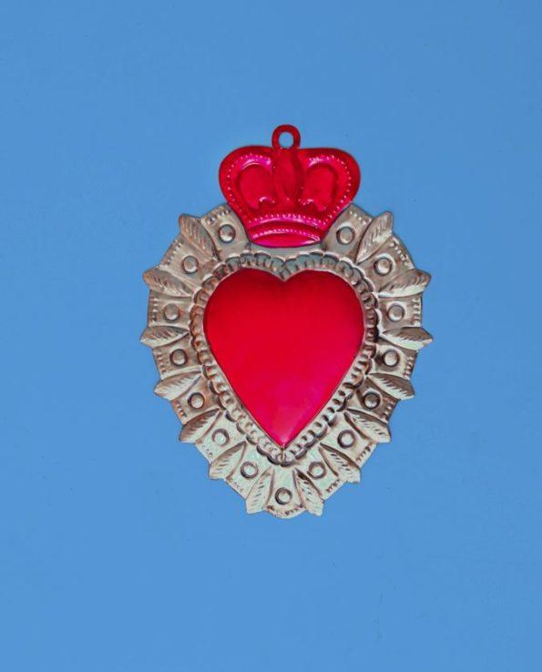 Coeur ex voto mexicain 20cm bicolore couronne