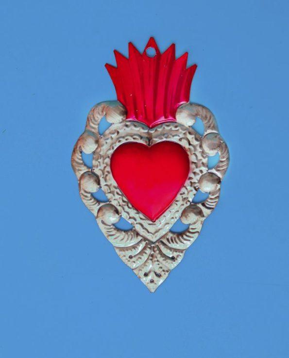 Coeur ex voto mexicain 20cm bicolore flamme