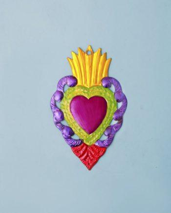 Coeur ex voto mexicain 20cm flamme dorée