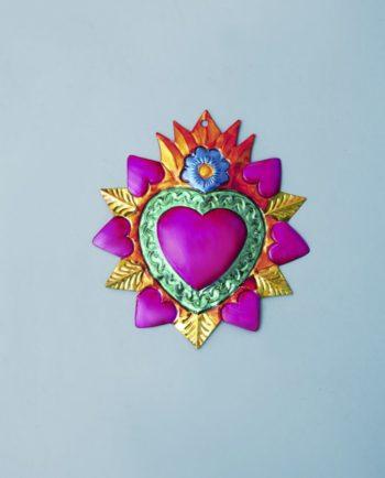 Coeur ex voto mexicain 20cm couronne de coeurs