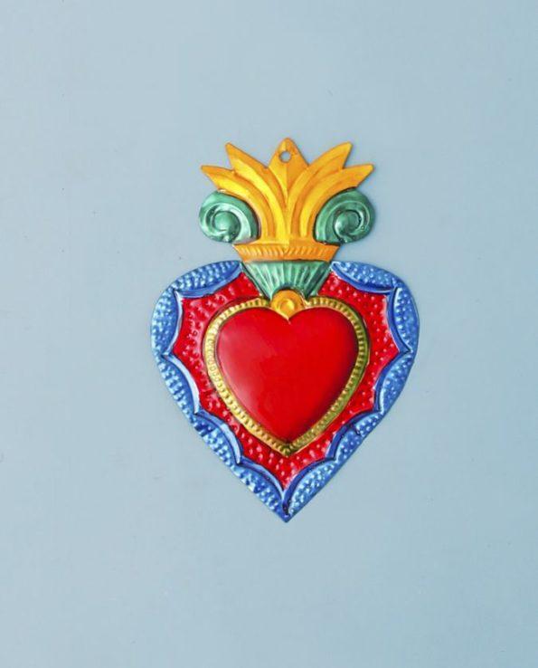 Coeur ex voto mexicain 20cm couronne baroque