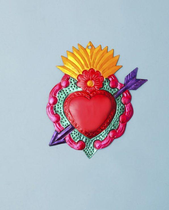 Coeur ex voto mexicain 20cm coeur fléché