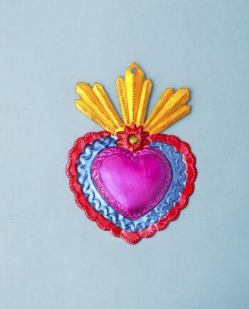 Coeur ex voto mexicain 20cm trois flammes