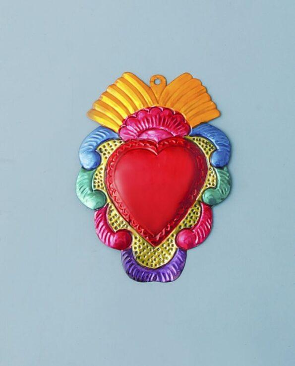 Coeur ex voto mexicain 20cm couronne de vagues