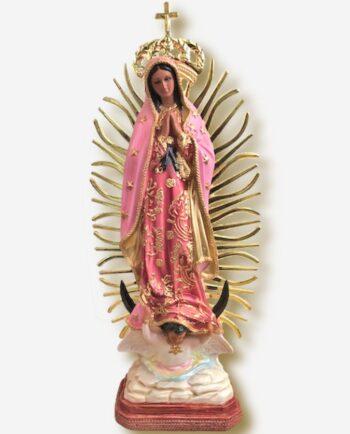 Statue Vierge de Guadalupe couleur rose
