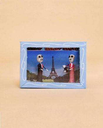 Vitrine mexicaine mini-squelettes voyage à Paris