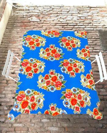 Nappe prédécoupée en toile cirée mexicaine modèle ramilletes bleu