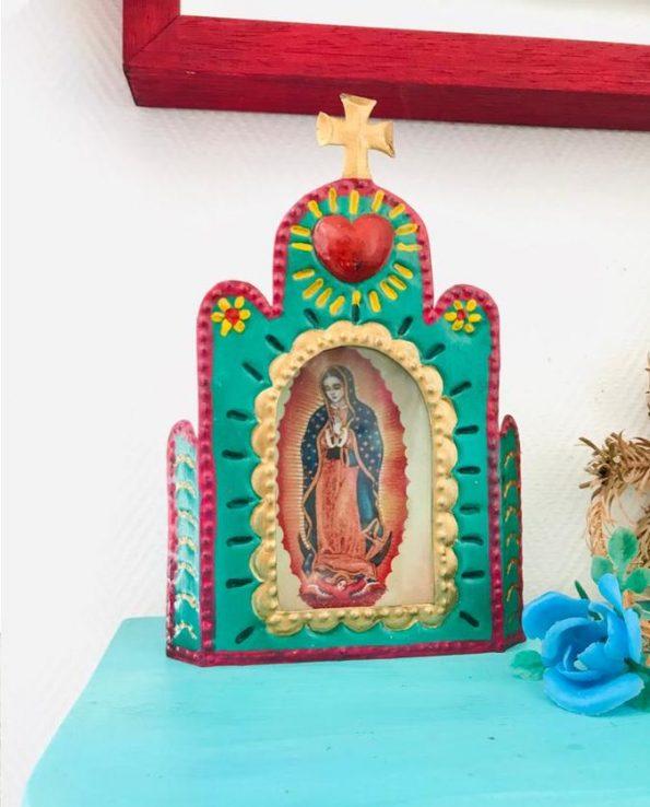 Vitrine mexicaine niche rétable à la Vierge de Guadalupe - turquoise