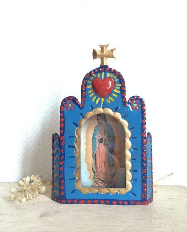 Vitrine mexicaine niche rétable à la Vierge de Guadalupe - bleu ciel