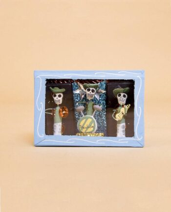 Vitrine mexicaine mini-squelettes de l'orchestre