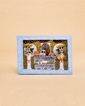 Vitrine mexicaine mini-squelettes sérénade à la Guadalupe